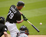 CHICAGO - JUNE 14:  Jose Abreu #79 of the Chicago White Sox bats against the Cleveland Indians on June 14, 2018 at Guaranteed Rate Field in Chicago, Illinois.  (Photo by Ron Vesely)  Subject: Jose Abreu
