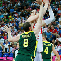 08 August 2012: Russia Timofey Mozgov eyes the basket during 83-74 Team Russia victory over Team Lithuania, during the men's basketball quarter-finals, at the 02 Arena, in London, Great Britain.