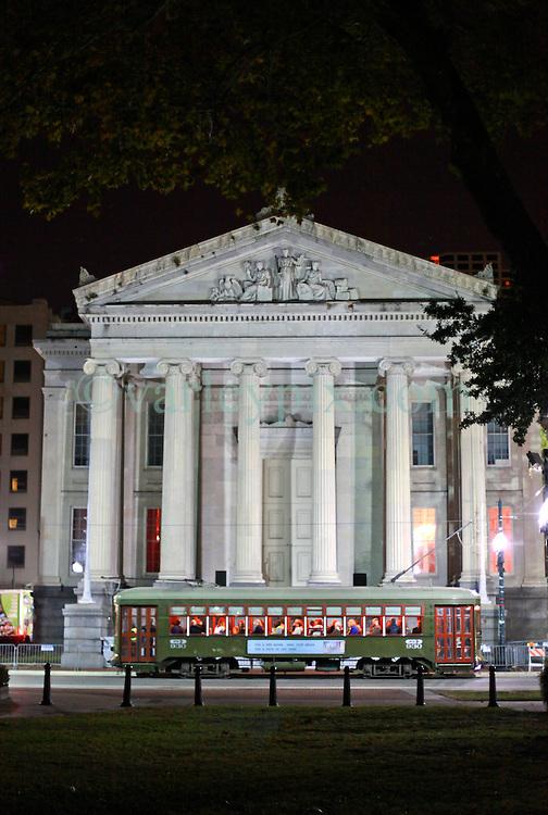08 November 2014. New Orleans, Louisiana. <br />  2014 International Irish Famine Commemoration, Gallier Hall.<br /> Night shot of Gallier Hall.<br /> Photo; Charlie Varley/varleypix.com