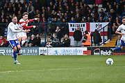 Doncaster Rovers On loan Midfielder, Cameron Stewart shoots during the Sky Bet League 1 match between Bury and Doncaster Rovers at the JD Stadium, Bury, England on 9 April 2016. Photo by Mark Pollitt.