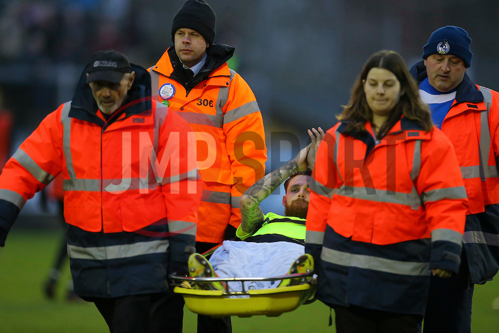 Paul Anderson of Northampton Town is taken off at the end of the first half on a stretcher - Mandatory by-line: Jason Brown/JMP - 07/01/2017 - FOOTBALL - Memorial Stadium - Bristol, England - Bristol Rovers v Northampton Town - Sky Bet League One