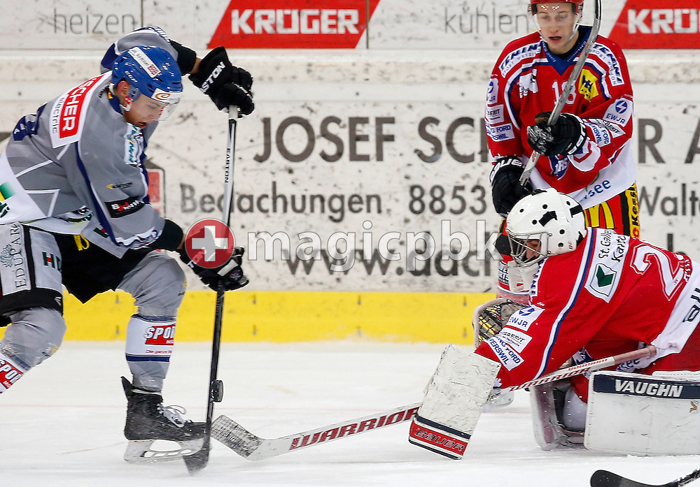 Rapperswil-Jona Lakers goaltender Tim Guggisberg is pictured during an Elite A Ranking Round 9-13 ice hockey game between Rapperswil-Jona Lakers and EHC Biel-Bienne Spirit held at the Diners Club Arena in Rapperswil, Switzerland, Sunday, Feb. 28, 2016. (Photo by Patrick B. Kraemer / MAGICPBK)