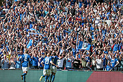 Rhys Browne (Macclesfield Town) celebrates in front of the Macclesfield Town fans having scored the equaliser, 1-1 during the FA Trophy match between Macclesfield Town and York City at Wembley Stadium, London, England on 21 May 2017. Photo by Mark P Doherty.