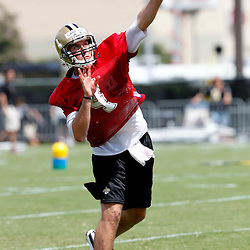 July 29, 2011; Metairie, LA, USA; New Orleans Saints quarterback Sean Canfield (4) during the first day of training camp at the New Orleans Saints practice facility. Mandatory Credit: Derick E. Hingle