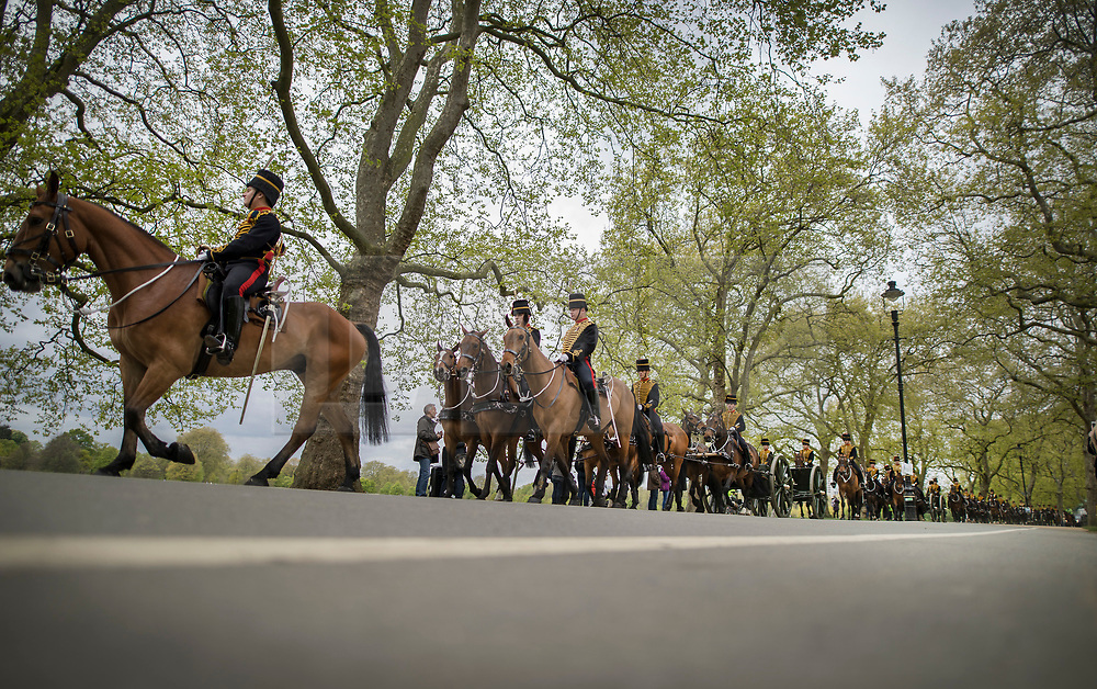 © Licensed to London News Pictures. 21/04/2017. London, UK. The King's Troop Royal Horse Artillery leave Hyde Park after giving a 41 Gun Royal Salute to mark Queen Elizabeth II's 91st birthday. A gun salute is also taking place near Tower Bridge. The Queen's official birthday is celebrated in June with the Trooping the Colour ceremony. Photo credit: Peter Macdiarmid/LN