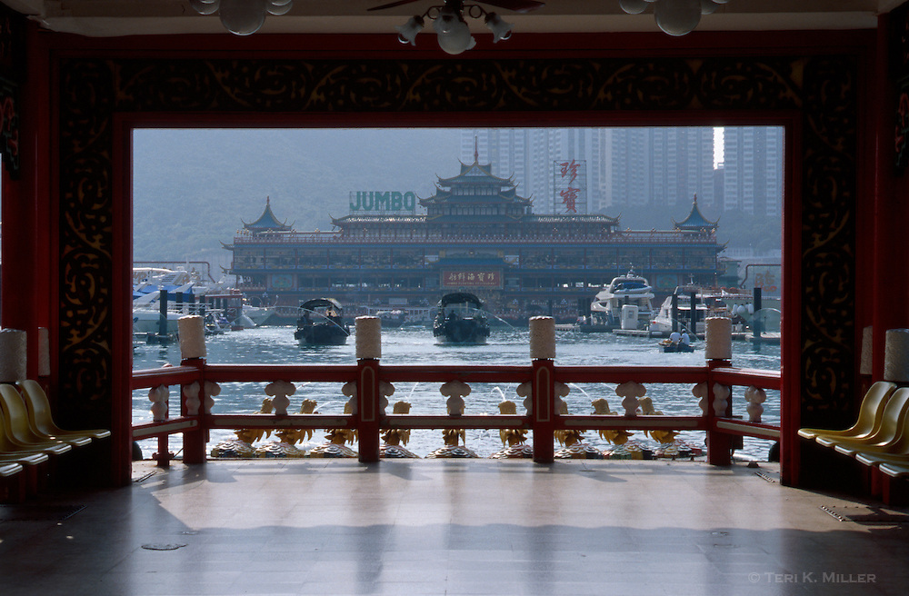 A view of the Jumbo Floating Restaurant in Aberdeen, Hong Kong, China.