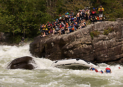 A raft overturns as it goes through the rapids at Pillow Rock on the Gauley River during American Whitewater's Gauley Fest weekend. The upper Gauley, located in the Gauley River National Recreation Area is considered one of premier whitewater rivers in the country.