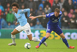 Leroy Sane of Manchester City battles for the ball with Danny Ward of Cardiff City- Mandatory by-line: Alex James/JMP - 22/09/2018 -  FOOTBALL - Cardiff City Stadium - Cardiff, Wales -  Cardiff City v Manchester City - Premier League