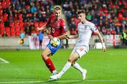 England forward Mason Mount tussles with Czech Republic midfielder Tomas Soucek (15) during the UEFA European 2020 Qualifier match between Czech Republic and England at Sinobo Stadium, Prague, Czech Republic on 11 October 2019.