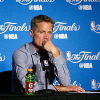 04 June 2017: Golden State Warriors head coach Steve Kerr listens to journalists following the Golden State Warriors 132-113 victory over the Cleveland Cavaliers, in game 2 of the 2017 NBA Finals, at the Oracle Arena, Oakland, California, USA.