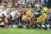The goal line offense of the San Francisco 49ers lines up against  the Green Bay Packers during an NFL football game in Green Bay, Wisconsin Saturday, Sept. 9, 2012. (AP Photo/Tom Hauck)