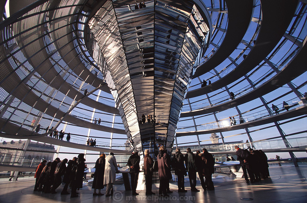 Berlin, Germany. Inside the cupola of the Reichstag, Germany's Parliament.