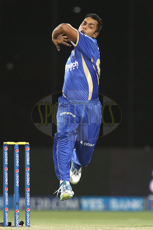 Stuart Binney of the Rajasthan Royals  sends down a delivery during match 23 of the Pepsi Indian Premier League Season 2014 between the Delhi Daredevils and the Rajasthan Royals held at the Feroze Shah Kotla cricket stadium, Delhi, India on the 3rd May  2014<br /> <br /> Photo by Shaun Roy / IPL / SPORTZPICS<br /> <br /> <br /> <br /> Image use subject to terms and conditions which can be found here:  http://sportzpics.photoshelter.com/gallery/Pepsi-IPL-Image-terms-and-conditions/G00004VW1IVJ.gB0/C0000TScjhBM6ikg