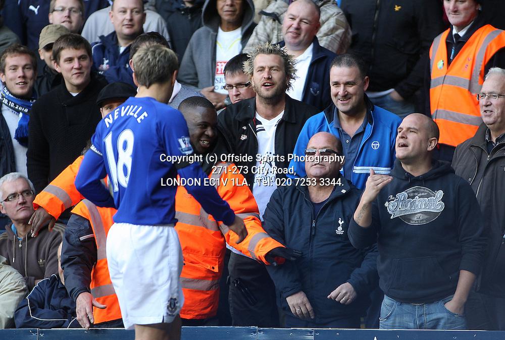 23/10/2010 Premier League football. Tottenham Hotspur v Everton.<br /> Phil Neville meets the friendly Tottenham fans.<br /> Photo: Mark Leech.