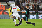 Real Madrid defender Sergio Ramos (4) stamping on Tottenham Hostpur midfielder Moussa Sissoko (17) foot during the Champions League match between Tottenham Hotspur and Real Madrid at Wembley Stadium, London, England on 1 November 2017. Photo by Matthew Redman.