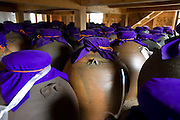 Photo shows earthenware pots of aged awamori inside the the Chuko distillery in Naha, Okinawa Prefecture, Japan, on May 20, 2012. Photographer: Robert Gilhooly
