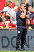 Tranmere Rovers manager Micky Mellon during the EFL Sky Bet League 2 Play Off Final match between Newport County and Tranmere Rovers at Wembley Stadium, London, England on 25 May 2019.