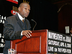 Floyd Mayweather at the press conference announcing his upcoming fight against Zab Judah.  The fight will take place on April 8, 2006 in Las Vegas.