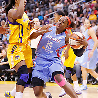 08 August 2014: Atlanta Dream guard Tiffany Hayes (15) drives past Los Angeles Sparks guard Candice Wiggins (2) during the Los Angeles Sparks 80-77 overtime win over the Atlanta Dream, at the Staples Center, Los Angeles, California, USA.