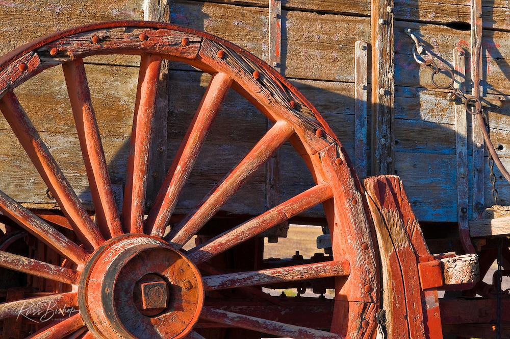 Wagon wheel at the Harmony Borax Works, Death Valley National Park. California