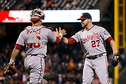 SAN FRANCISCO, CA - JULY 28: Shawn Kelley #27 of the Washington Nationals celebrates with Wilson Ramos #40 after the game against the San Francisco Giants at AT&T Park on July 28, 2016 in San Francisco, California. The Washington Nationals defeated the San Francisco Giants 4-2. (Photo by Jason O. Watson/Getty Images) *** Local Caption *** Shawn Kelley; Wilson Ramos