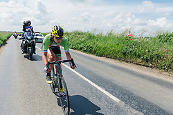 Alison Tetrick (Cylance) races solo toward Norwich at Aviva Women's Tour 2016 - Stage 1. A 138.5 km road race from Southwold to Norwich, UK on June 15th 2016.