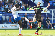 Tranmere Rovers Sid Nelson(4) and Forest Green Rovers Christian Doidge(9) during the EFL Sky Bet League 2 match between Tranmere Rovers and Forest Green Rovers at Prenton Park, Birkenhead, England on 19 April 2019.
