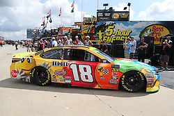September 29, 2018 - Charlotte, NC, U.S. - CHARLOTTE, NC - SEPTEMBER 29: #18: Kyle Busch, Joe Gibbs Racing, Toyota Camry M&M's leaving the garages during the Monster Energy NASCAR Cup Series Playoff Race Bank of America ROVAL 400 on September 29, 2018, at Charlotte Motor Speedway in Concord, NC. (Photo by Jaylynn Nash/Icon Sportswire) (Credit Image: © Jaylynn Nash/Icon SMI via ZUMA Press)