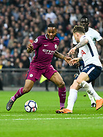 Football - 2017 / 2018 Premier League - Tottenham Hotspur vs. Manchester City<br /> <br /> Raheem Sterling of Manchester City challenged by Kieran Trippier of Tottenham Hotspurs at Wembley Stadium.<br /> <br /> COLORSPORT/WINSTON BYNORTH