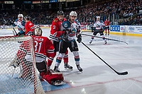KELOWNA, CANADA - APRIL 14: Caleb Jones #3 of the Portland Winterhawks back checks Rodney Southam #17 of the Kelowna Rockets on April 14, 2017 at Prospera Place in Kelowna, British Columbia, Canada.  (Photo by Marissa Baecker/Shoot the Breeze)  *** Local Caption ***