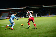Stevenage's midfielder Jonathan Smith beats a Coventry player during the EFL Sky Bet League 2 match between Stevenage and Coventry City at the Lamex Stadium, Stevenage, England on 21 November 2017. Photo by Matt Bristow.