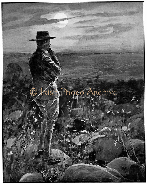 Robert Stephenson Smyth Baden-Powell (1815-1941) English soldier; defender of Mafeking in Boer War (1899-1900) Founder of Boy Scouts (1909) and Girl Guides (1910). BP at Mafeking, ever watchful, living up to his Matebele name 'Mpeesi', The Wolf that Never Sleeps .