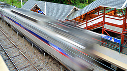 The center city inbound train departs at Allen Lane station.
