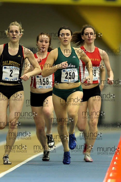 (Windsor, Ontario---11 March 2010) Julene Friesen of University of Saskatchewan competes in the  competes in the 600m heats at the 2010 Canadian Interuniversity Sport Track and Field Championships at the St. Denis Center. Photograph copyright Claus Andersen/Mundo Sport Images. www.mundosportimages.com