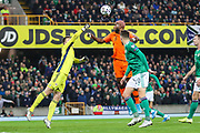 Netherlands forward Ryan Babel (9) and Northern Ireland goalkeeper Peacock-Farrell (1) compete for the ball during the UEFA European 2020 Qualifier match between Northern Ireland and Netherlands at National Football Stadium, Windsor Park, Northern Ireland on 16 November 2019.