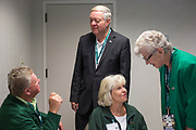 President Duane Nellis and Ruthie Nellis talk to Robert and Shirley Drake, both '71 OU graduates, on Sept. 2, 2017 in the Presidents box at Peden Stadium. Robert and Shirley have been married for 47 years.