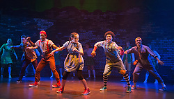 "© Licensed to London News Pictures. 04/08/2014. London, England. L-R: Corey Culverwell as Lion, Mike McNeish as Toto, Arizona Snow as Dorothy, Jaih Betote Dipito Akwa as Scarecrow and Mikey Ureta as Tinman. Kate Prince and hip-hop dance company ZooNation return to Queen Elizabeth Hall/Southbank Centre for a second year with their show ""Groove on Down the Road"" which is based on ""The Wizard of Oz"". This show is performed entirely by ZooNation's Youth Company with dancers ranging from ages 10-19, as a way of inspiring a new generation of performers. Performances at Southbank Centre's Queen Elizabeth Hall run from 5 to 26 August 2014 and are part of Southbank Centre's ""Festival of Love"". Photo credit: Bettina Strenske/LNP"