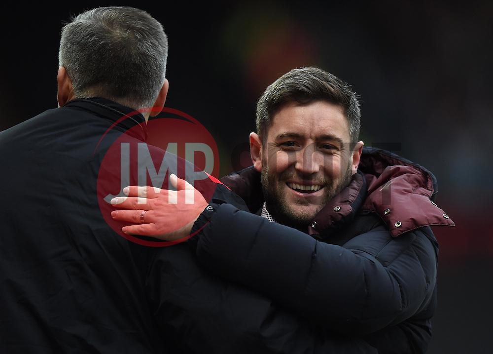 Lee Johnson head coach of Bristol City celebrates with coach John Pemberton - Mandatory by-line: Paul Knight/JMP - Mobile: 07966 386802 - 19/03/2016 -  FOOTBALL - Ashton Gate Stadium - Bristol, England -  Bristol City v Bolton Wanderers - Sky Bet Championship