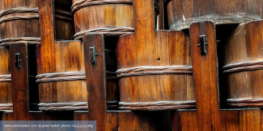 Wooden buckets, Kyoto, Japan.