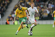 Milton Keynes - Tuesday, August 12th, 2008: Dean Lewington (R) of MK Dons and Arturo Lupoli (L) of Norwich City during the Carling League Cup First Round match at Stadium MK, Milton keynes. (Pic by Mark Chapman/Focus Images)