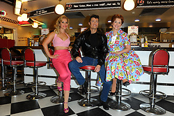 (L-R) Heidi Range, Ben Freeman and Cheryl Baker attends launch of Happy Days a new musical set to premiere at Bromley's Churchill Theatre, at Eds Easy Diner, Trocadero, London, United Kingdom. Wednesday, 8th January 2014. Picture by Chris Joseph / i-Images