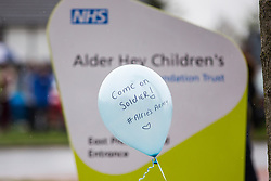 © Licensed to London News Pictures. 24/04/2018. Liverpool UK. Picture shows a balloon outside Alder Hey Hospital with a message to Alfie Evans. 23 month old Alfie Evans life support has been withdrawn at Alder hey hospital in Liverpool but it is reported that he has been breathing unaided for 9 hours. Alfie has been living in a coma for the past year after being struck down with a mystery illness his parents Kate James & Tom Evans have been fighting legal cases t keep him alive & move him abroad for medical treatment. Photo credit: Andrew McCaren/LNP