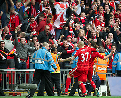 LONDON, ENGLAND - Saturday, April 14, 2012: Liverpool's Andy Carroll celebrates scoring a late winner against Everton to seal a 2-1 victory during the FA Cup Semi-Final match at Wembley. (Pic by David Rawcliffe/Propaganda)