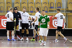 Players of Downtown Tigers celebrate victory during match for fifth place between Downtown Tigers (FIN) and FBK Olimpija (SLO)  in Floorball Slo Open 2012, on August 26, 2012 in Ljubljana, Slovenia.  (Photo by Matic Klansek Velej / Sportida.com)