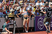Jessica Ennis-Hill GBR after her jump during the Muller Anniversary Games at the Stadium, Queen Elizabeth Olympic Park, London, United Kingdom on 23 July 2016. Photo by Phil Duncan.