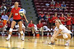 28 AUG 2009: Mallory Leggett looks on as Kasey Mollerus digs out a ball. The Redbirds of Illinois State defeated the Runnin' Bulldogs of Gardner-Webb in 3 sets during play in the Redbird Classic on Doug Collins Court inside Redbird Arena in Normal Illinois