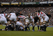 Twickenham. GREAT BRITAIN, Jamie NOON, passes the ball back from the ruck, during the, 2006 Investec Challenge, game between, England  and New Zealand [All Blacks], on Sun., 05/11/2006, played at the Twickenham Stadium, England. Photo, Peter Spurrier/Intersport-images].....   [Mandatory Credit, Peter Spurier/ Intersport Images].