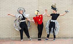 Pictured: Ferdinand McKay (16), Perla Osk (16) and Stanley McKay (17) modelled some of the more artistic costumes created by fellow students.<br />  <br /> Craigroyston Community High School put on an Expressive Arts Showcase - Try Everything to encourgage students to get involved with the arts. <br /> <br /> <br /> Ger Harley | EEm 7 June 2016
