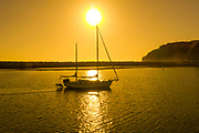 Sailing at Sunset in the Dana Point Harbor