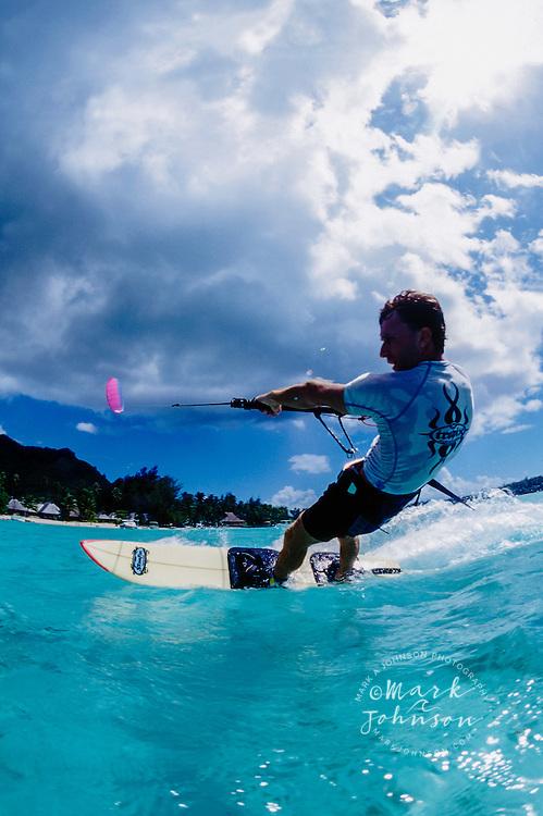 Moorea, French Polynesia --- Kite surfing